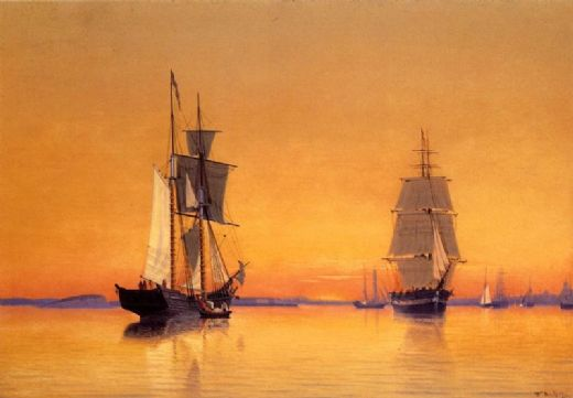 william bradford ships in boston harbor at twilight painting
