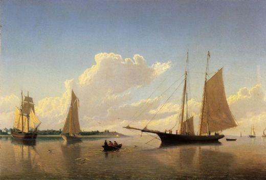 william bradford stowing sails off fairhaven painting
