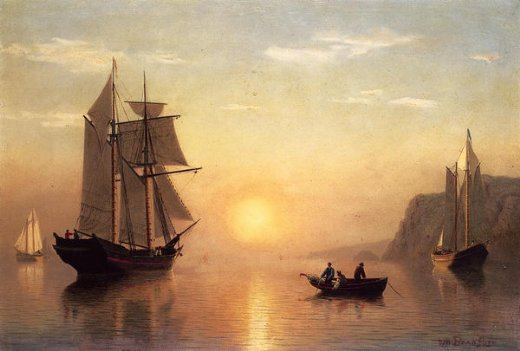 william bradford sunset calm in the bay of fundy painting
