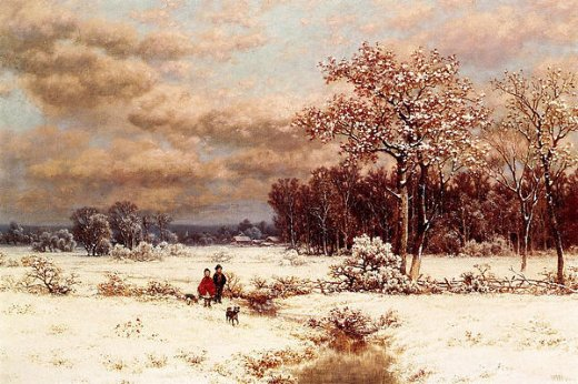 william mason brown children in a snowy landscape painting
