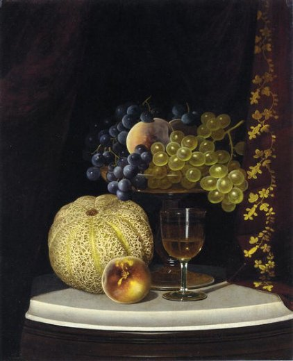 william mason brown still life with melon peach fruit paintings