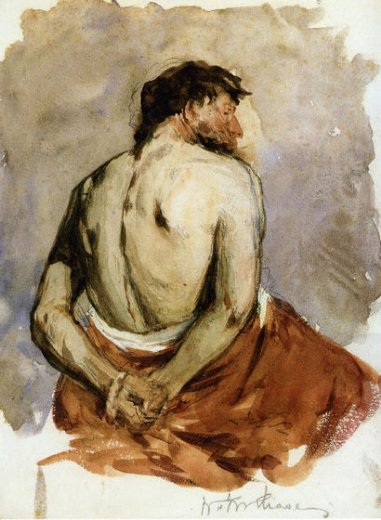 william merritt chase back of a male figure prints