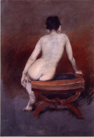 william merritt chase back of a nude painting