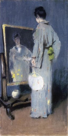 william merritt chase making her toilet painting