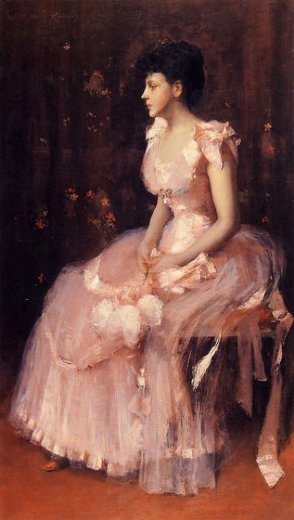 william merritt chase portrait of a lady in pink paintings