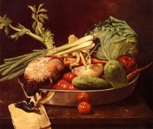 william merritt chase still life with vegetables painting