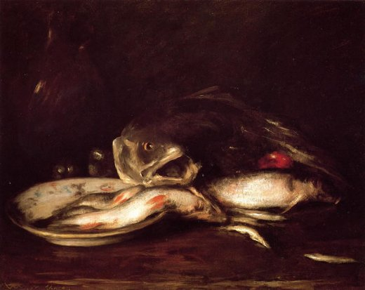 william merritt chase still llife with fish and plate painting