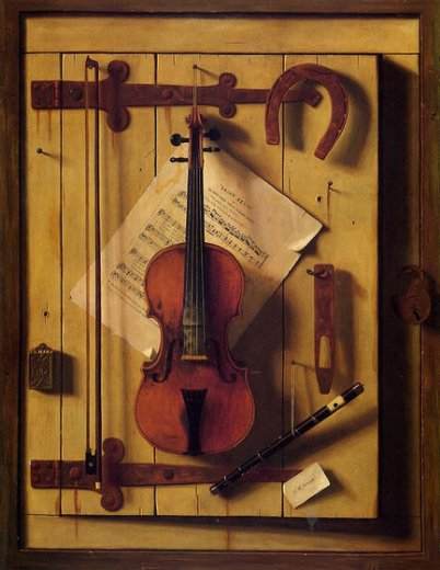 william michael harnett still life violin and music painting