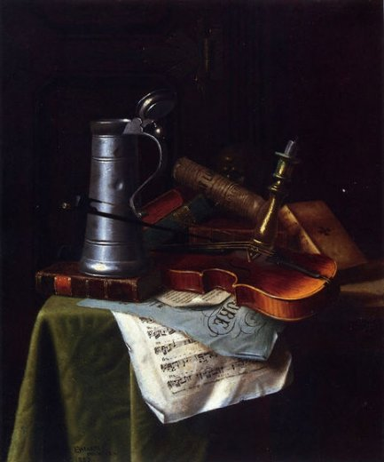 william michael harnett still life with a violin pewter tankard and sheet music paintings