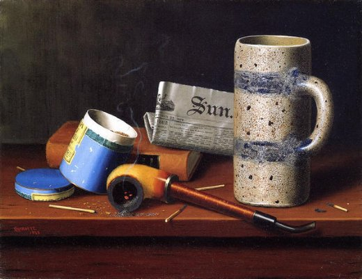william michael harnett still life with blue tobacco box painting