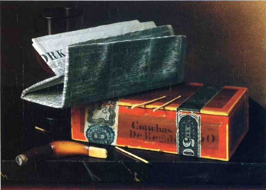 william michael harnett still life with cigar pipe new york herald and wiine glass paintings