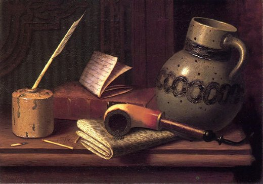william michael harnett still life with inkwell book pipe and stoneware jug paintings