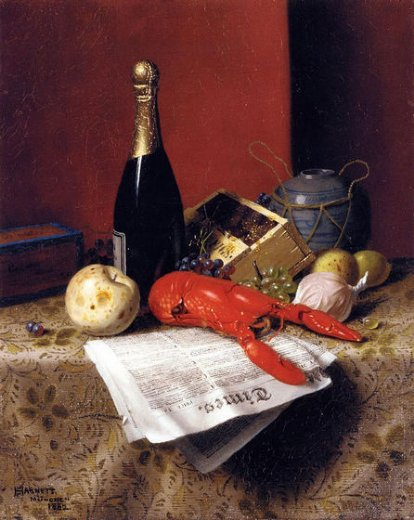 william michael harnett still life with lobster fruit champagne and newspaper paintings