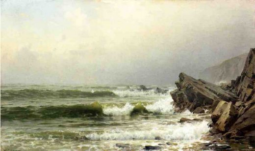 william trost richards a misty morning on the channel coast england oil painting
