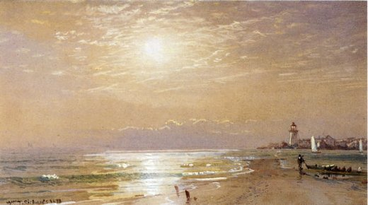 william trost richards along the beach towards sunset painting