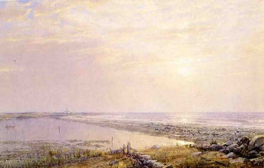 william trost richards beach scene late afternoon painting