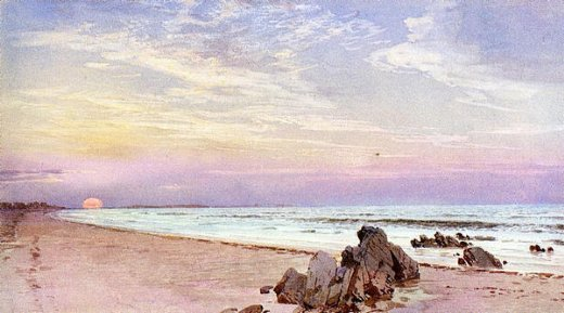 william trost richards beach with rising sun new jersey paintings