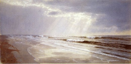 william trost richards beach with sun drawing water painting