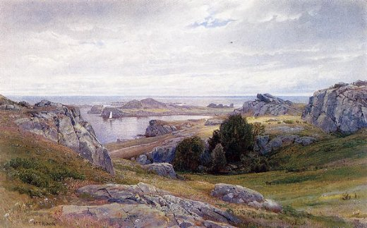 william trost richards coast with sailboat newport painting