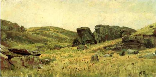 william trost richards rocky hillside painting