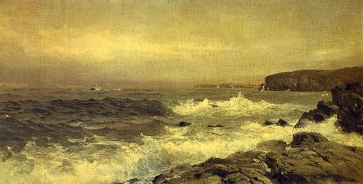 william trost richards rocky sea coast painting