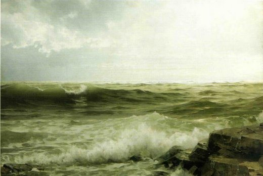 william trost richards rocky seacoast painting