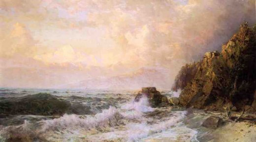 william trost richards rough seas near snow capped mountains painting