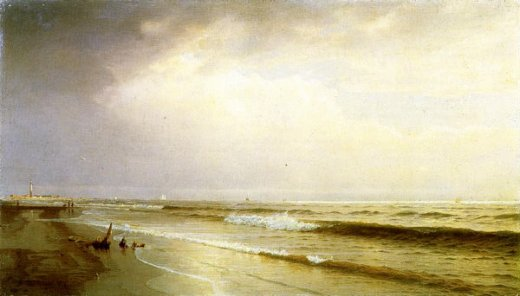 william trost richards seascape with distant lighthouse atlantic city new jersey paintings