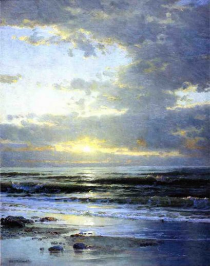 william trost richards sunrise on the beach painting