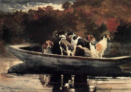 winslow homer dogs in a boat painting