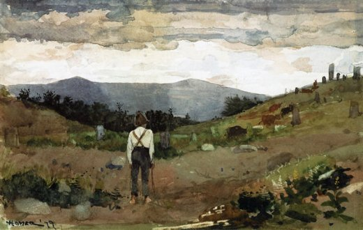 winslow homer driving cows to pasture painting