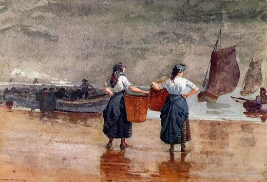 winslow homer fishergirls on the beach tynemouth paintings