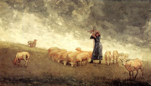 winslow homer shepherdess tending sheep paintings