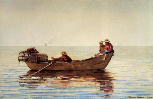 winslow homer three boys in a dory with lobster pots painting