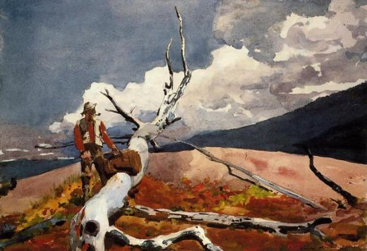winslow homer woodsman and fallen tree paintings