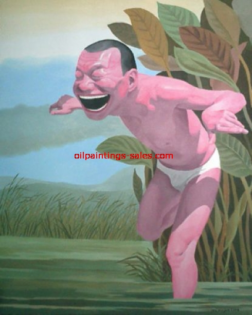 yue minjun free and at leisure 6 painting