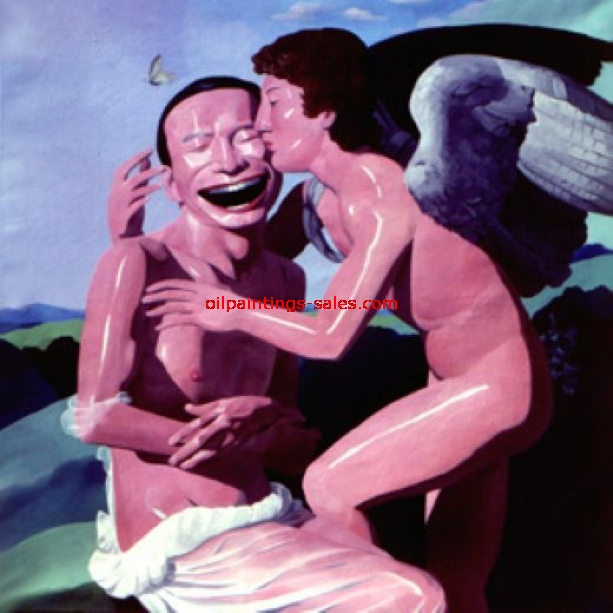 yue minjun the kiss painting