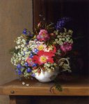 still life with dog roses larkspur and bell flowers in a white cup by adelheid dietrich painting