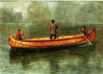 albert bierstadt fishing from a canoe painting