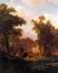 indian encampment shoshone village by albert bierstadt painting