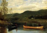 men in two canoes by albert bierstadt