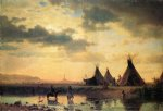 view of chimney rock ogalillalh sioux village in foreground by albert bierstadt painting