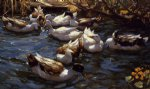 ducks in the reeds under the boughs by alexander koester paintings