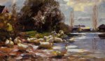 ducks on a riverbank on a sunny afternoon by alexander koester paintings