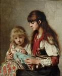sisters by alexei alexeivich harlamoff painting