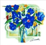 alfred gockel blue flowers in vase painting 77663