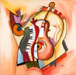 music oil paintings - music is my life by alfred gockel