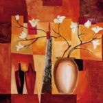 alfred gockel orange geometric floral ii oil painting