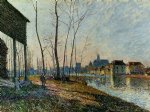 a february morning at moret by alfred sisley painting