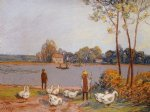 alfred sisley by the river loing poster